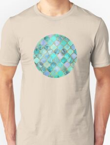 Cool Jade & Icy Mint Decorative Moroccan Tile Pattern Unisex T-Shirt