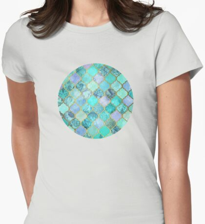 Cool Jade & Icy Mint Decorative Moroccan Tile Pattern Womens Fitted T-Shirt