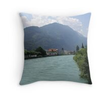 A river Landscape in Switzerland Throw Pillow