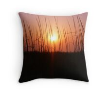 Sunset Through Dune Grass Throw Pillow