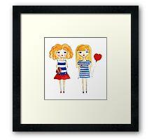 marine girls Framed Print