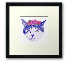 vintage cat with flowers Framed Print