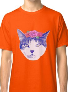vintage cat with flowers Classic T-Shirt