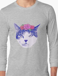 vintage cat with flowers Long Sleeve T-Shirt