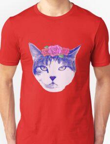 vintage cat with flowers Unisex T-Shirt