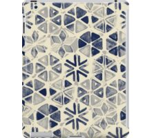 Hand Painted Triangle & Honeycomb Ink Pattern - indigo & cream iPad Case/Skin