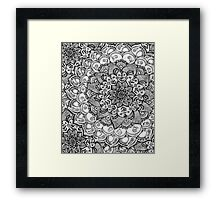 Shades of Grey - mono floral doodle Framed Print