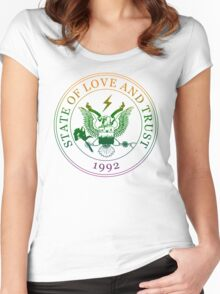 State of Love and Trust Women's Fitted Scoop T-Shirt