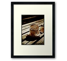 Dirty coffee cups in sepia with texture Framed Print