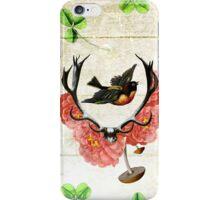 artsy antlers bird clovers flowers mushroom indie  iPhone Case/Skin