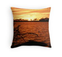 Fire at Sunrise - Lake Curlew, NSW Throw Pillow