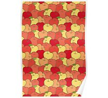 Red and Yellow Apple Seamless Pattern Poster