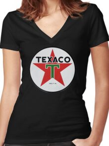 Texaco retro Women's Fitted V-Neck T-Shirt