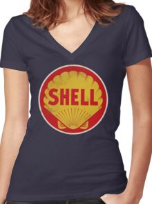 Shell retro Women's Fitted V-Neck T-Shirt