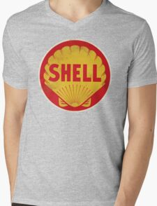 Shell retro Mens V-Neck T-Shirt