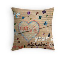 Banner Alphabet Soup Throw Pillow