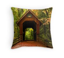 Covered Bridge,Little Hope Wisconsin  Throw Pillow
