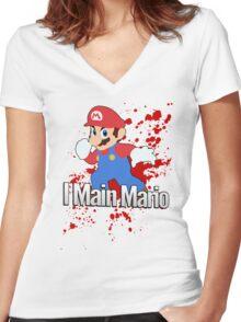 I Main Mario - Super Smash Bros. Women's Fitted V-Neck T-Shirt