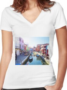 A View of Burano Women's Fitted V-Neck T-Shirt