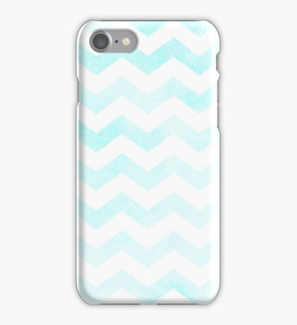 Watercolor Chevrons in carribean blue. iPhone Case/Skin