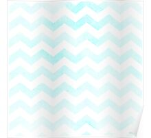 Watercolor Chevrons in carribean blue. Poster