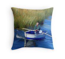 Old man rowing Throw Pillow