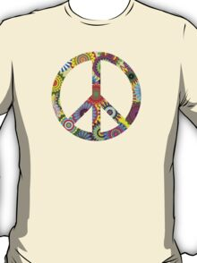 Cool Retro Flowers Peace Sign - T-Shirt and Stickers T-Shirt