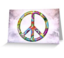 Cool Retro Flowers Peace Sign - T-Shirt and Stickers Greeting Card