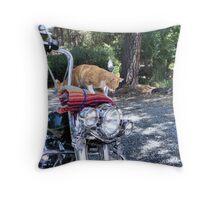 Biker Rex Throw Pillow