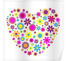 Spring and Summer Floral Heart Poster