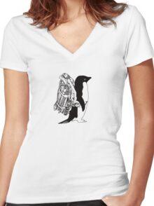 Jet Pack Penguin Women's Fitted V-Neck T-Shirt