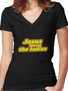 Jesus Loves the Ladies Women's Fitted V-Neck T-Shirt
