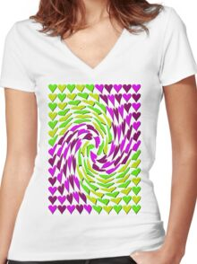 Love Hearts Abstract Multi Twist 2 Women's Fitted V-Neck T-Shirt