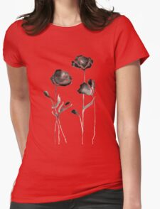 Black Watercolor Flowers Womens Fitted T-Shirt