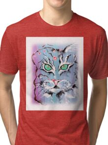 Turquoise Eyes Cat - Animal Art by Valentina Miletic Tri-blend T-Shirt