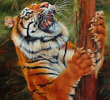 Tiger Chasing Prey by Margaret Stockdale