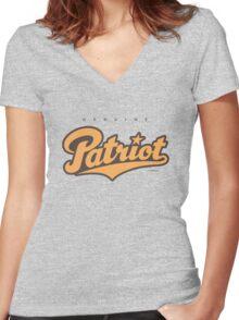 GenuineTee - Patriot (orange/darkgrey) Women's Fitted V-Neck T-Shirt