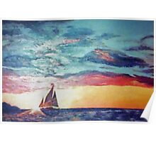 Vintage 70s Sunset Sailboat Painting Poster