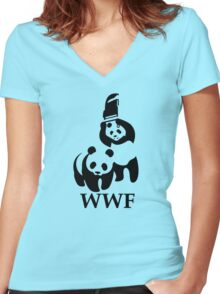 Funny Bear WWF Women's Fitted V-Neck T-Shirt