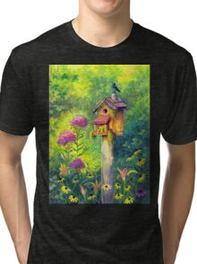 Bird House and Bluebird  Tri-blend T-Shirt