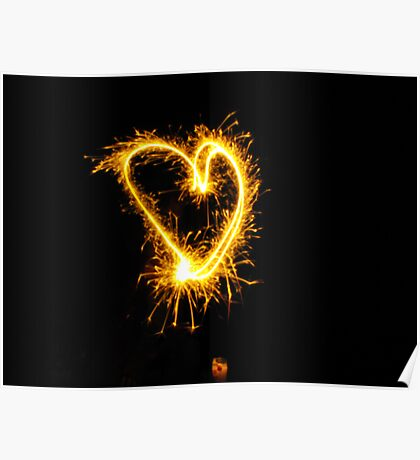 A 4th of July Sparkler Heart Poster