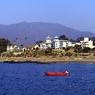 Red Boat on Blue Sea Chile by Daidalos
