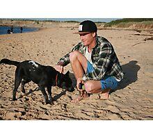 30. Chris & his Cattle-Staffy dog Bluey Photographic Print