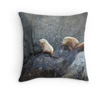 Baby Stellar Seal Lounges on the Rocks Throw Pillow