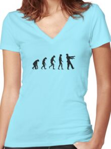 Evolution of Zombies (Zombie Walking Dead) Women's Fitted V-Neck T-Shirt