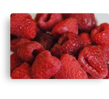 Red Raspberries Macro Canvas Print