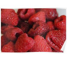 Red Raspberries Macro Poster