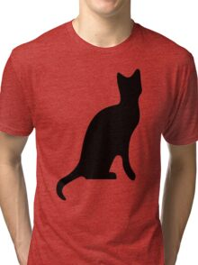 Halloween Black Cat Smooth Silhouette Tri-blend T-Shirt