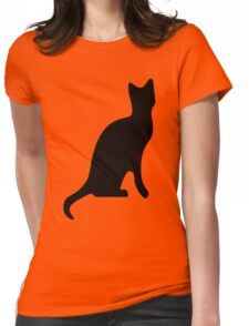 Halloween Black Cat Smooth Silhouette Womens Fitted T-Shirt