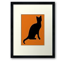Halloween Black Cat Smooth Silhouette Framed Print